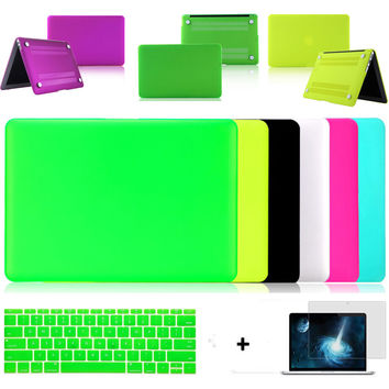 laptop case matte 6 deep colors protective shell for apple macbook pro 13/retina 13 air 11 13+keyboard cover+screen protector