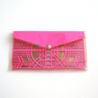 Neon Pink Cut Out Art Deco Clutch - Geometric Laser Cut Paper Clear Transparent Vinyl PVC Purse