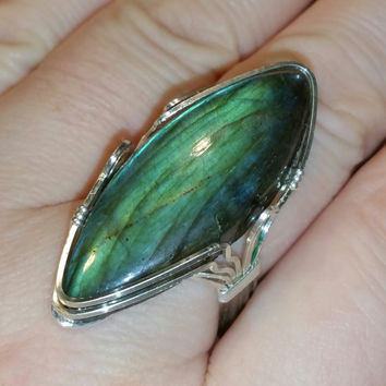 Marquise cut Labradorite stone wrapped ring in Argentinum wire  you pick your size