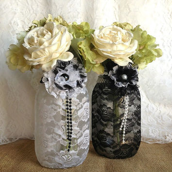 2 black and white lace covered mason jar vases, wedding decor, bridal shower decor, Christmas gift, home decor