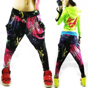 PEAPUG3 Jazz hiphop jazz dance hip-hop pants ds doodle spring and summer loose neon candy color harem pants 0416