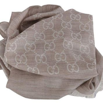 ONETOW Gucci Women's Oatmeal Beige Wool Silk GG Guccissima Scarf
