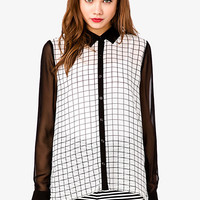 Colorblocked Grid Chiffon Shirt