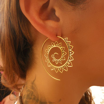 Brass Earrings - Brass Spiral Earrings - Gypsy Earrings - Spiral Jewelry - Brass Jewelry - Tribal Jewelry - Ethnic Jewelry (Code: EB50)