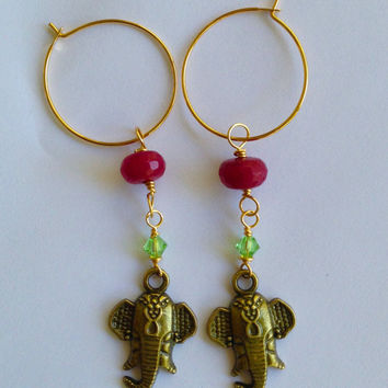 Ruby red jade rondelle bead with green swarovski hanging with a bronze elephant head on gold hoop earrings-ELEPHANT EARRINGS