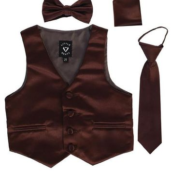 Brown Satin Boys 4-pc Vest Set w. Ties & Pocket Square 3M-14
