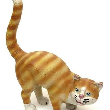 Cast Iron Large Cat Door Stop Yellow Tabby Figurine