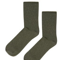 Roll Top Glitter Ankle Sock - Olive