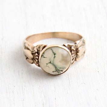 Antique Victorian 10k Rose Gold Moss Agate Ring- Size 5 3/4 Late 1800s Fine Jewelry, Flower Repousse Band