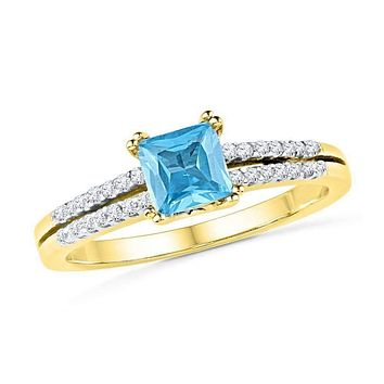 10k Gold Women's Lab-created Blue Topaz & Diamond Bridal Ring - FREE Shipping (US/CA)