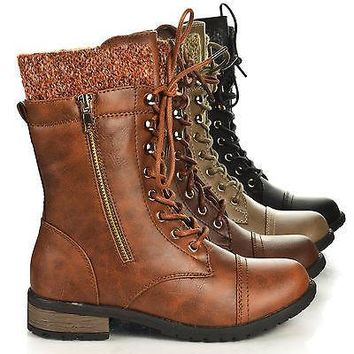 Mango31 By Forever, Round Toe Military Lace Up Knitted Ankle Cuff Low Heel Combat Boots