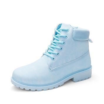 Lace Up Candy Colors Women Martin Boots