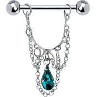 Blue Zircon Teardrop Chain Dangle Nipple Ring | Body Candy Body Jewelry