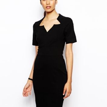 Vesper Amber Pencil Dress with Notch Neckline - Black