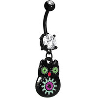 Crystalline Gem Black Neon Sugar Owl Dangle Belly Ring | Body Candy Body Jewelry