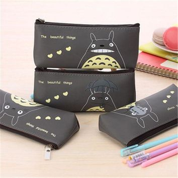VONC1Y Cute Totoro School Pencil case for  My Neighbor PU Leather Pencil Bag Stationery Pouch Bag for kids office school supplies 2.24