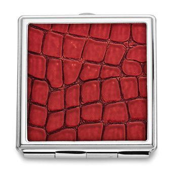 Red Faux Leather Compact Mirror