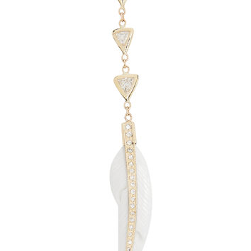 3 Diamond Feather Drop Earring
