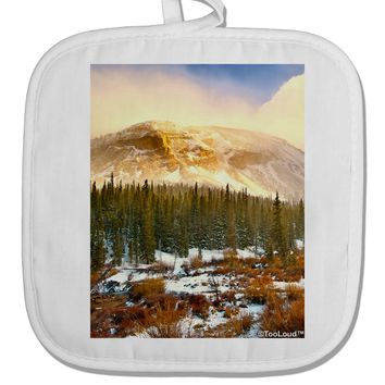 Nature Photography - Mountain Glow White Fabric Pot Holder Hot Pad by TooLoud