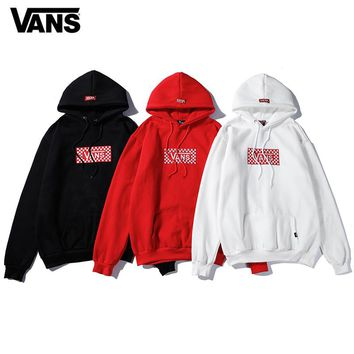 VANS Plaid Embroidered Hooded Sweater
