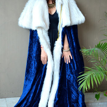 Vintage royal cape of blue velvet with faux fur caplet king, queen fancy