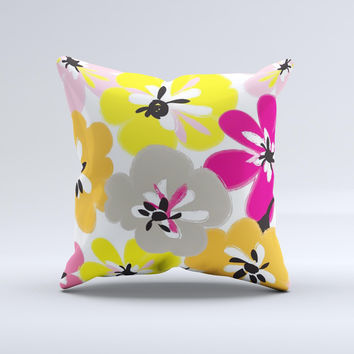 Bright Summer Brushed Flowers   Ink-Fuzed Decorative Throw Pillow
