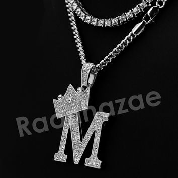 Iced Out Crown M  Initial Pendant Necklace Set.