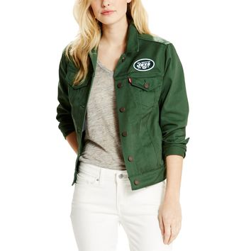 Women's New York Jets Levi's Green Twill Trucker Button-Up Jacket