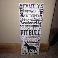 Distressed Wooden Dog Lover Sign Pitbull