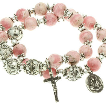 Sterling Silver Double Elastic Rosary Bracelet Rhodochrosite, 7 Sorrows Rosary and Trinity