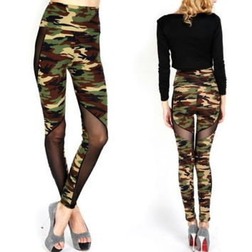 Women Sexy Mesh Camouflage Leggings High Waist Patchwork Stretchy Slim Army Camo Leggings Leggings SM6