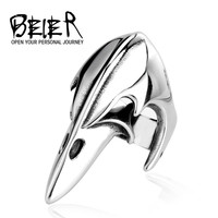 BEIER Gothic Long Amor Ring For Man Stainless Steel Biker Man's Animal Bird Beak Ring Jewelry Biker Punk Style BR8-029