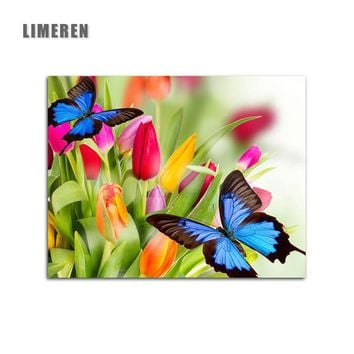 Unframed Picture DIY Painting By Numbers Oil Painting Of Butterfly and Flower Home Decor For Living Room Wall Art