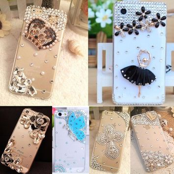 Glitter Rhinestone Case Cover For Huawei Honor 6x,TPU+PC Acrylic DIY Unique Diamond Protective Shiny mobile phone shell