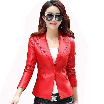Spring Women's PU Leather Jacket Turn Down Collar Single Buttons Solid Slim Motorcycle Womens Faux Leather Jackets And Coats