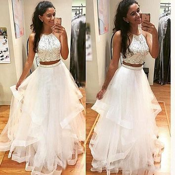 SoDigne 2 Piece Prom dress for Graduation Halter A-Line Beaded Custom Made White Evening Dress with Rhinestones Free Shipping