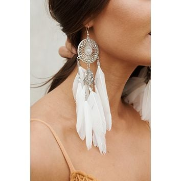 Hailey Dream Catcher Drop Earrings (White/Silver)