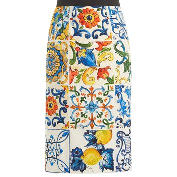 Majolica-print silk-blend pencil skirt | Dolce & Gabbana | MATCHESFASHION.COM US