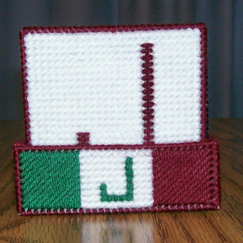 Initial Coaster, Drink Coasters, Plastic Canvas, Handmade, Cross Stitch, Placemat, Wine, Bunko Party, Bridal Shower, Housewarming Gift