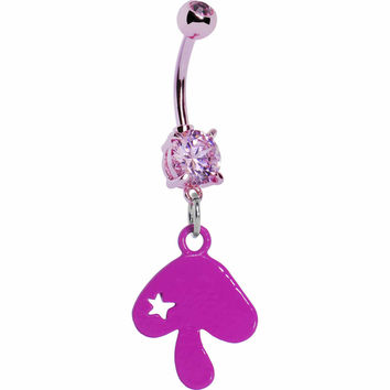 Pink Gem Mushroom Dangle Belly Ring