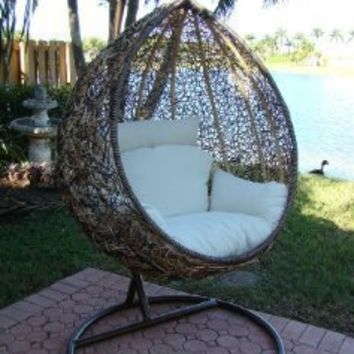 Trully - Outdoor Wicker Swing Chair - The Great Hammocks K003AB