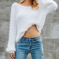 Flash Forward White Long Sleeve Scoop Neck Fuzzy Pullover Sweater