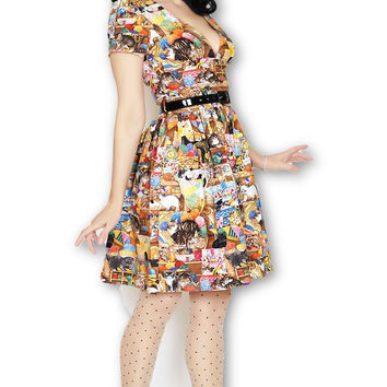 Sloan Square Dress in Crazy Cat Lady print