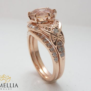 Floral Morganite Engagement Ring Diamond Wedding Band Bridal Set in 14k Rose Gold 8mm Round Morganite Ring Half Eternity Band