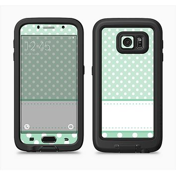 The Vintage Light Green Polka Dot With White Strip copy Full Body Samsung Galaxy S6 LifeProof Fre Case Skin Kit