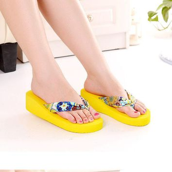 ac VLXC Summer Ladies Wedge Butterfly Sandals High Heel Slippers [10210878860]