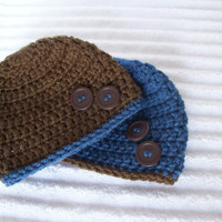 Brown and Blue Baby Beanie Set, Crochet Baby Beanie, Newborn Hat, Newborn Beanie, Crochet Baby Hat, Set of Two Baby Beanies