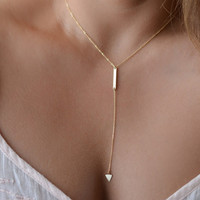 Gold Arrow Lariat Necklace