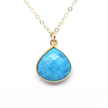 Turquoise necklace,  December Birthstone birthday gift, gold necklace, bezel set blue gemstone turquoise teardrop pendant