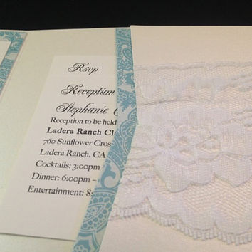 50 White Pearlized Pocketfold with Lace by PaperDivaInvitations